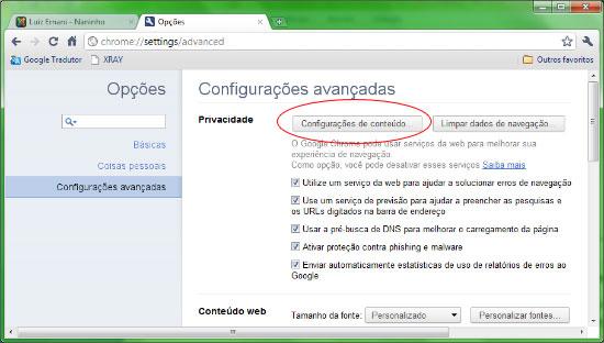 Configurações do Google Chrome