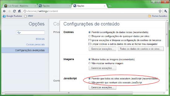 Habilitar/Desabilitar JavaScript no Google Chrome