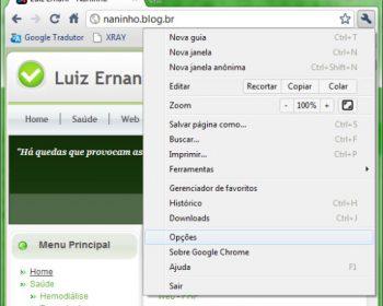 Caminho para opções do Google Chrome