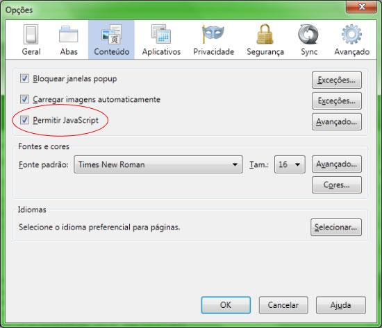 Menu de opções do Firefox 4