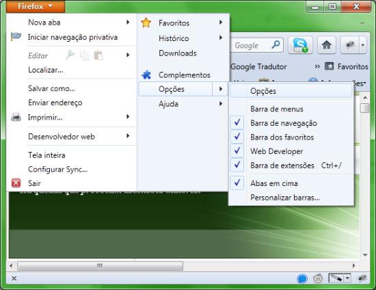 Caminho para o menu de opções do Firefox 4