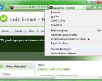 Caminho para o menu de opções do internet explorer