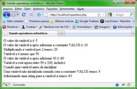 Operadores Aritméticos em PHP