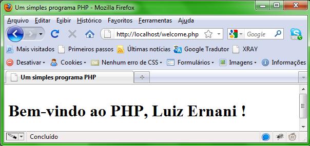 Mensagem de Bem-vindo em PHP
