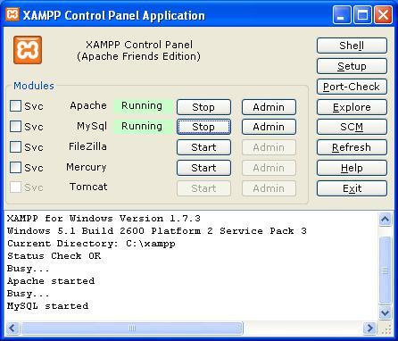 Painel de Controle do XAMPP