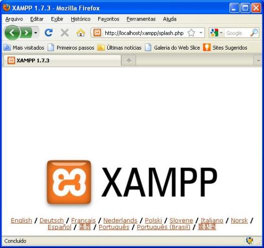 Página inicial do XAMPP